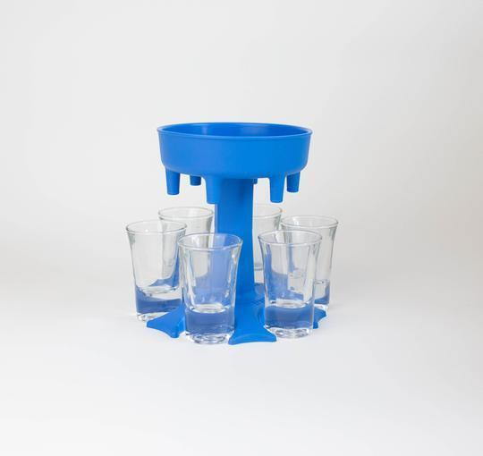 6 SHOT GLASS DISPENSER AND HOLDER/CARRIER CADDY LIQUOR DISPENSER PARTY GIFTS DRINKING GAMES SHOT GLASSES GET THE PARTY STARTED FASTER!