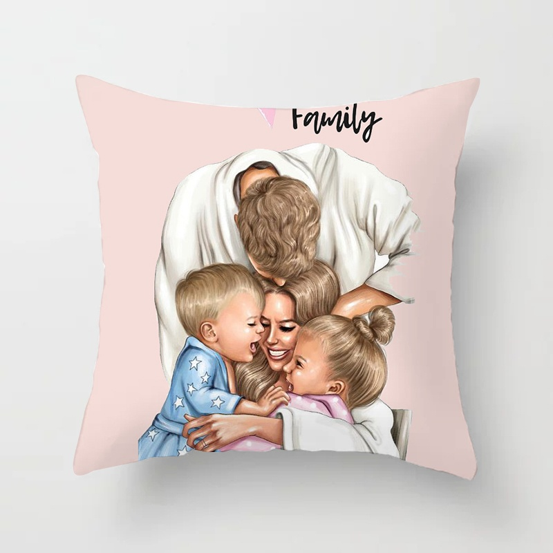 Fashion Black Brown Hair Baby Mom Girl Queen Pillow Case 45*45 Polyester Home Throw Pillows Soft Decorative Cushion Cover For Sofa Chair Pillow Cover