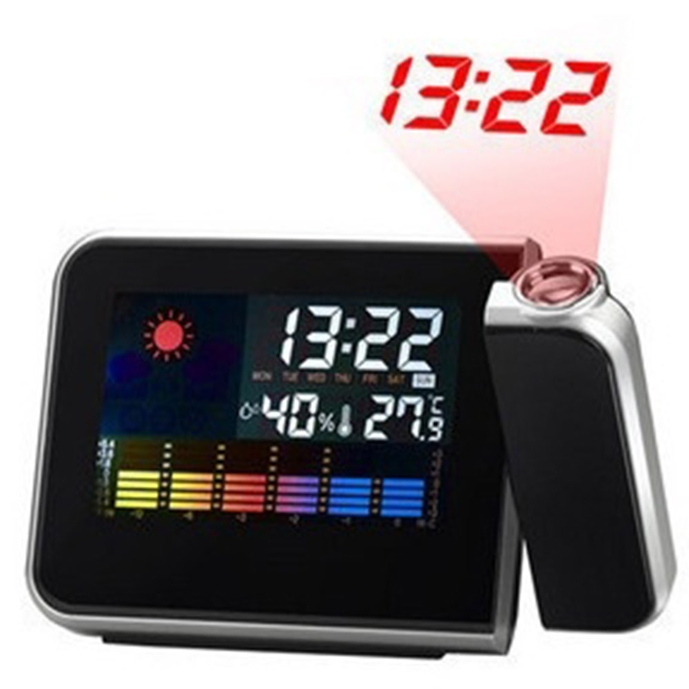 Home USB Digital LED Display Projection Alarm Clock Snooze Function Weather Temperature Thermometer Humidity Table Projector Alarm Clock