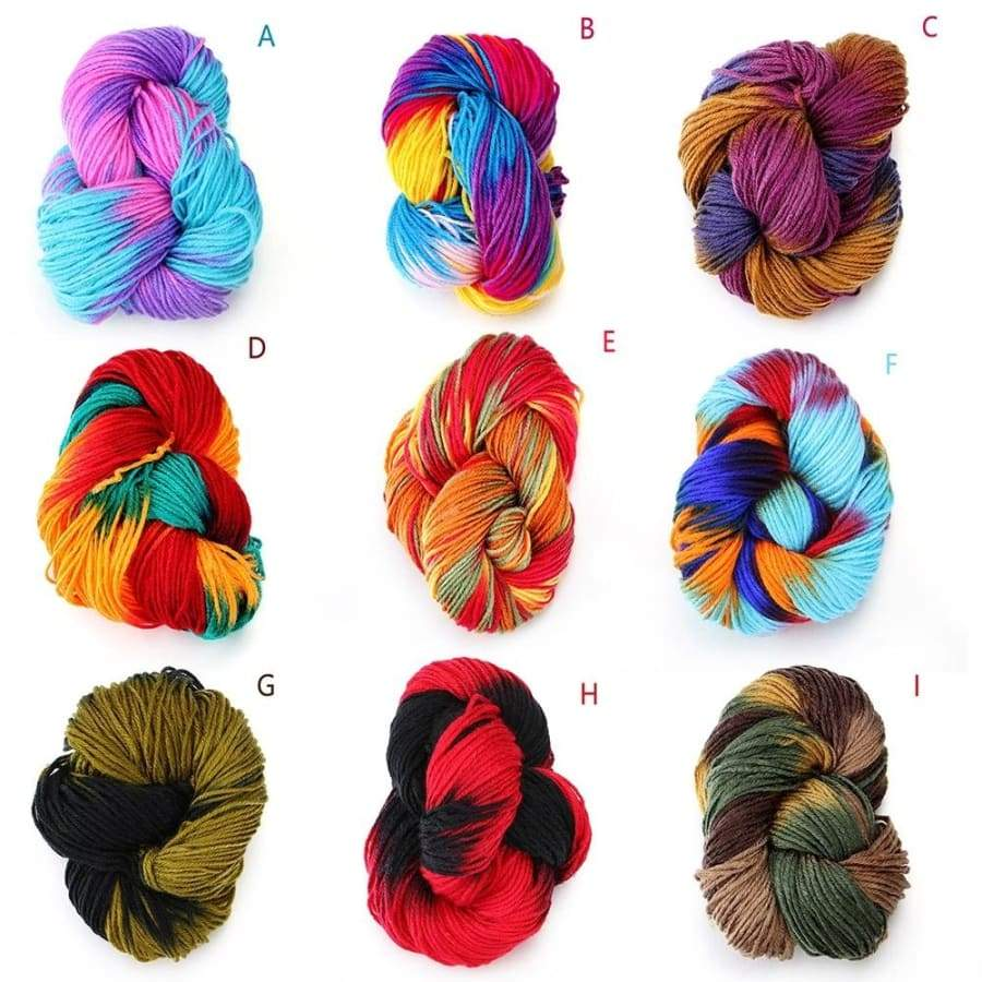 Multi-colored Soft Thick Hand Knitted Carded Threads Yarn for Kids Baby Sweaters Crocheting Knitting Dyed Yarn Ball