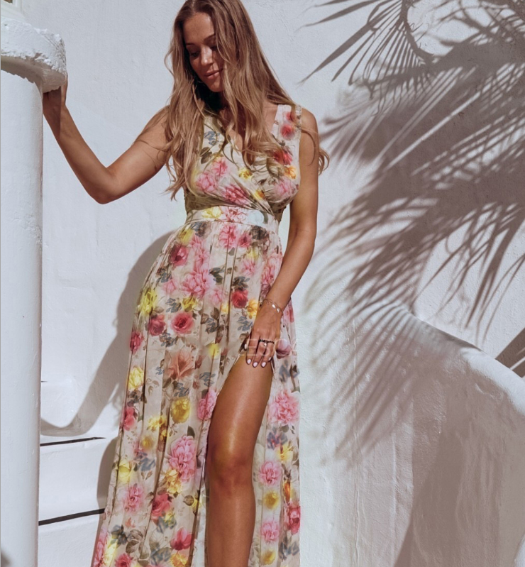 Mid-length floral chiffon dress