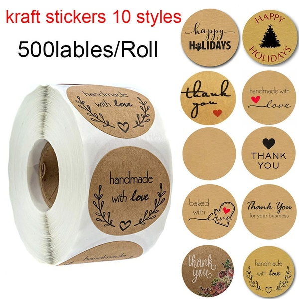 1' Inch Round Natural Kraft Olive Branch Handmade with Love Stickers / 500 Labels per roll