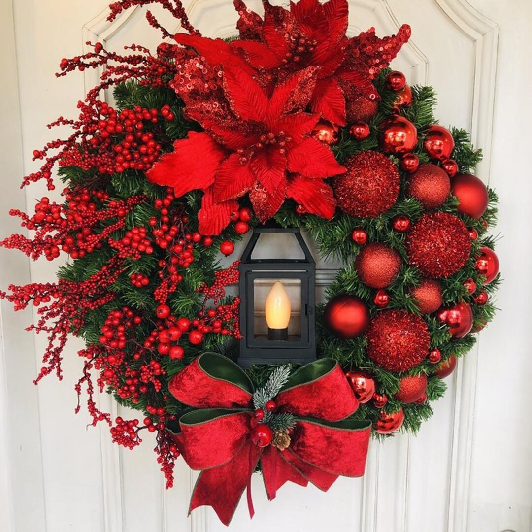 Elegant Red Wreath  Buy 2 Free Shipping &10% off