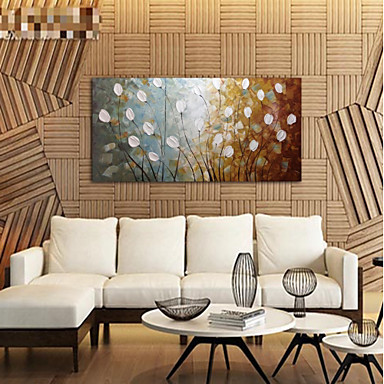 Oil Painting Hand Painted - Abstract Floral / Botanical Comtemporary Modern Stretched Canvas