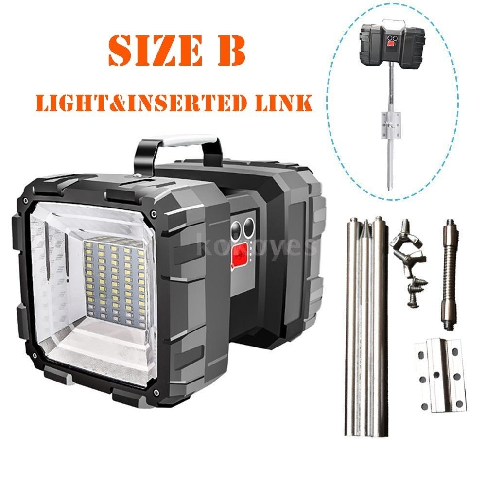 Bright Double Heads Flashlight Searchlight USB Rechargeable Portable Outdoor Emergency Light