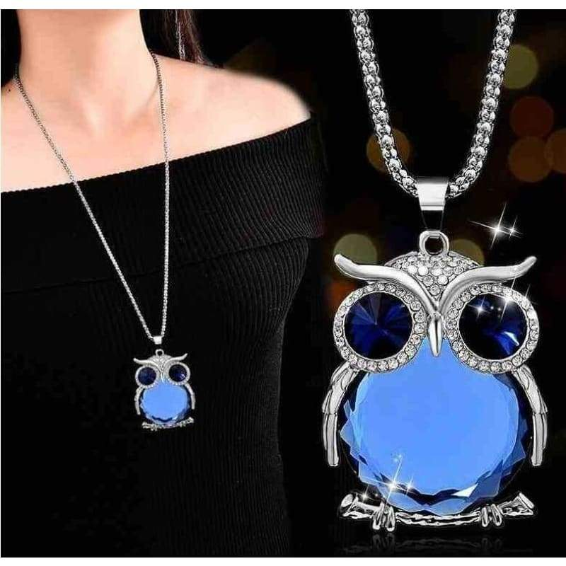 New Arrival Women Owl Rhinestone Crystal Pendant Necklace Animal Long Sweater Chain Jewelry