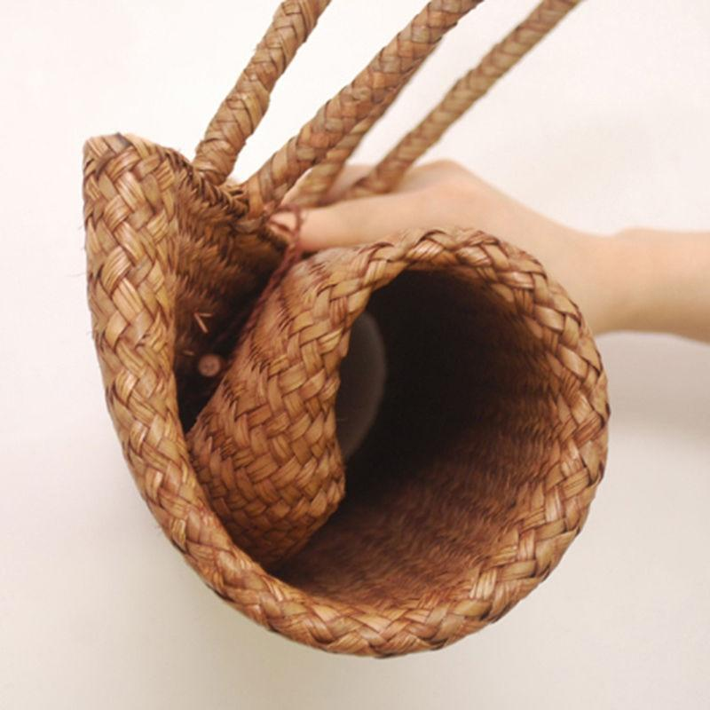 Women Summer Handbag Beach Bag Rattan Woven Handmade Knitted Straw Bags
