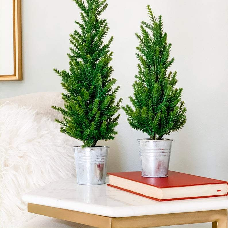 SET OF 2 Mini Christmas Trees in Frosty Silver Pots   Faux Winter Pine Trees for Mantel, Shelf, Coffee Table Centerpiece