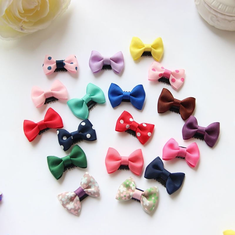 10/20 Pcs Cute Colorful  Kids Baby Girl's Bow Ribbon Hair Bow Mini Latch Clips Hair Clip Hairpins