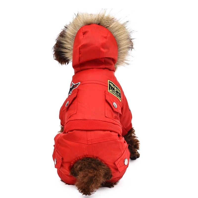 USA AIR FORCE Dog Winter Clothes Thick Warm Pet Coat Jacket Padded Hoodie For Large Small Dog XS-4XL Jumpsuit Apparel 3 Color 8 Size