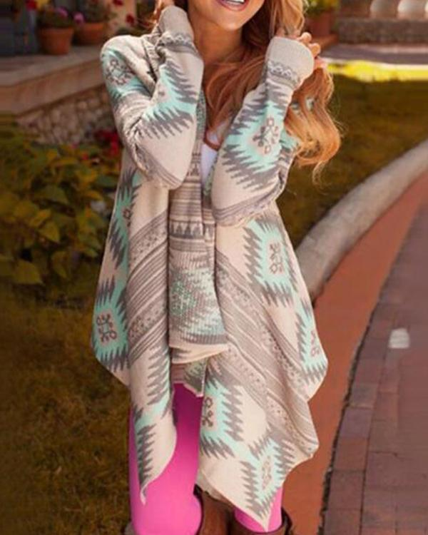 Printed Knitting Sweater Cardigans Tops