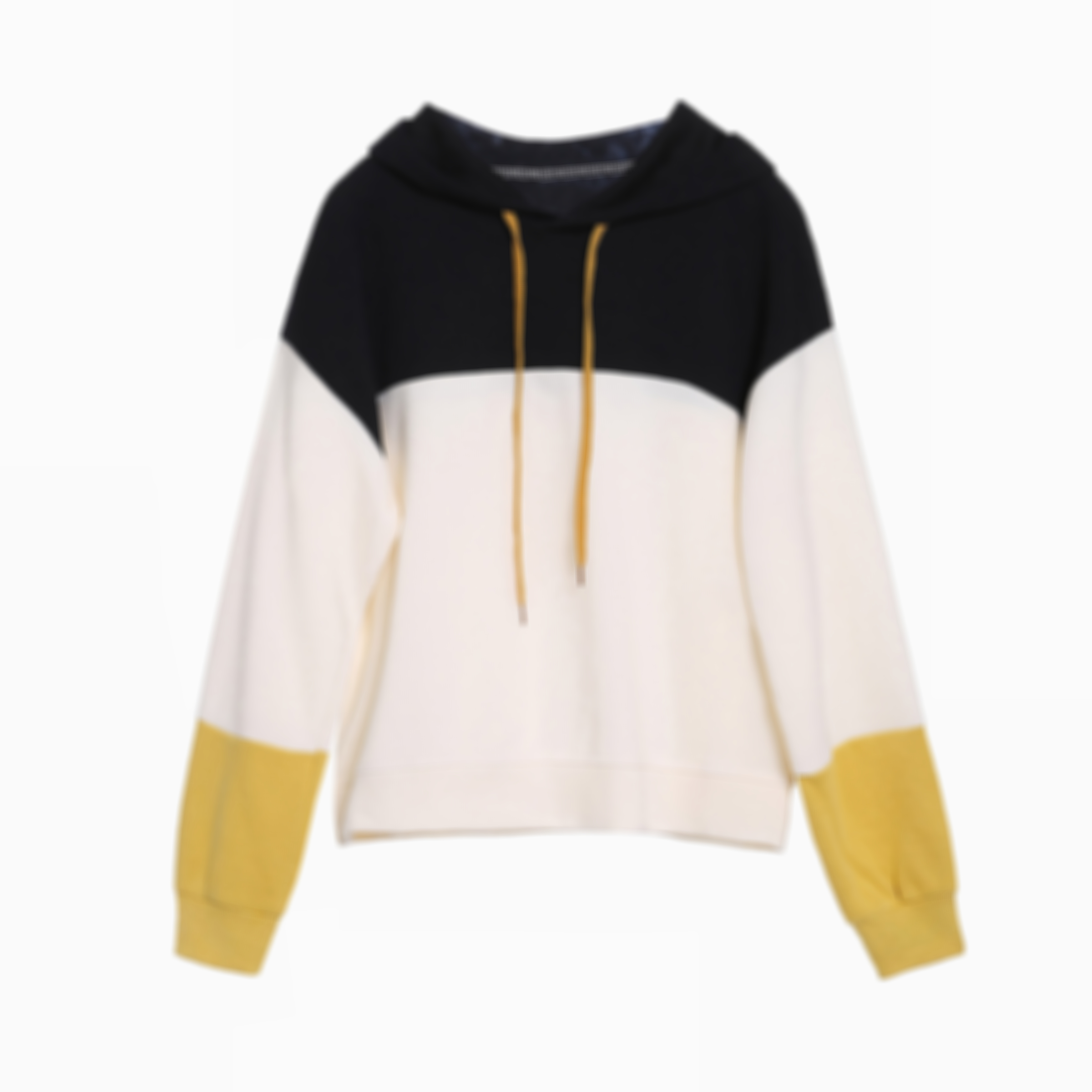 Drop Shoulder Drawstring Colorblock Sweatshirt