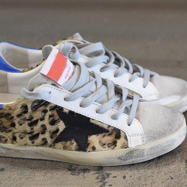 Faddishshoes Leopard Daily Lace Up Sneakers