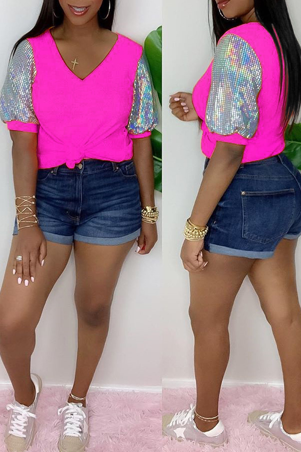 Sequined Puff Sleeve Stitching T-shirt