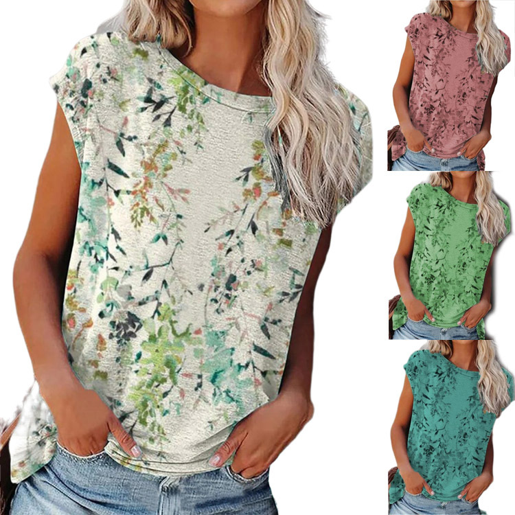 Floral Short Sleeve Cotton-Blend Casual Shirts