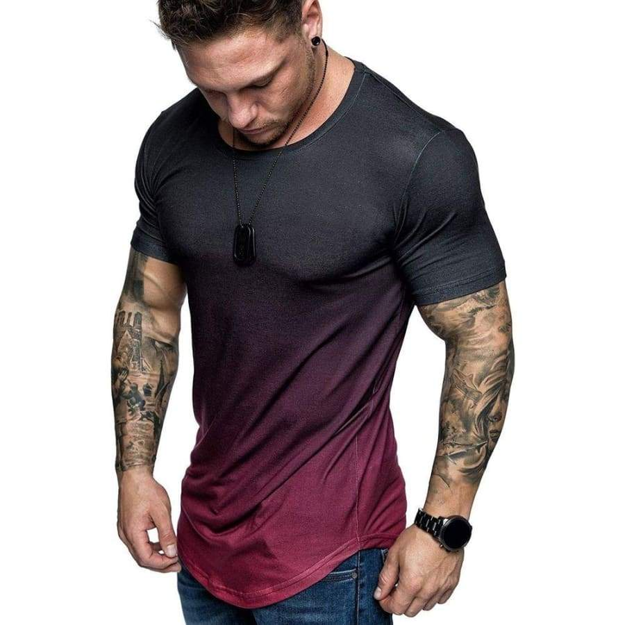 Summer Men's New  Fashion Personality Casual Comfortable Short-sleeved Sports Round Neck T-shirt