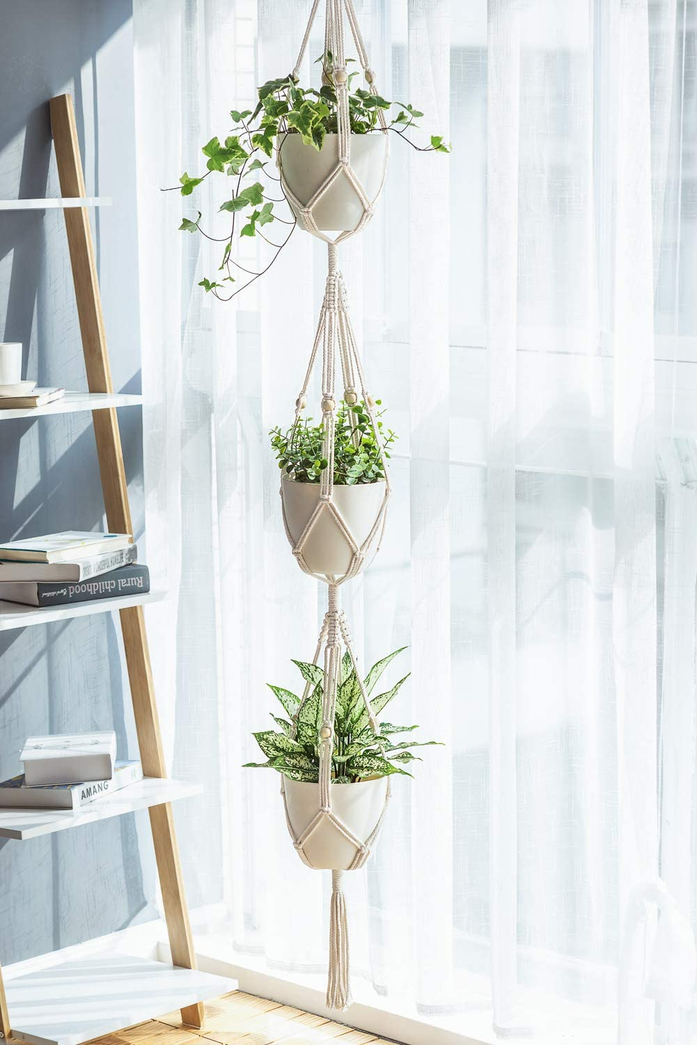 5-Pack Plant Hangers with 5 Hooks, Different Tiers, Handmade Cotton Rope