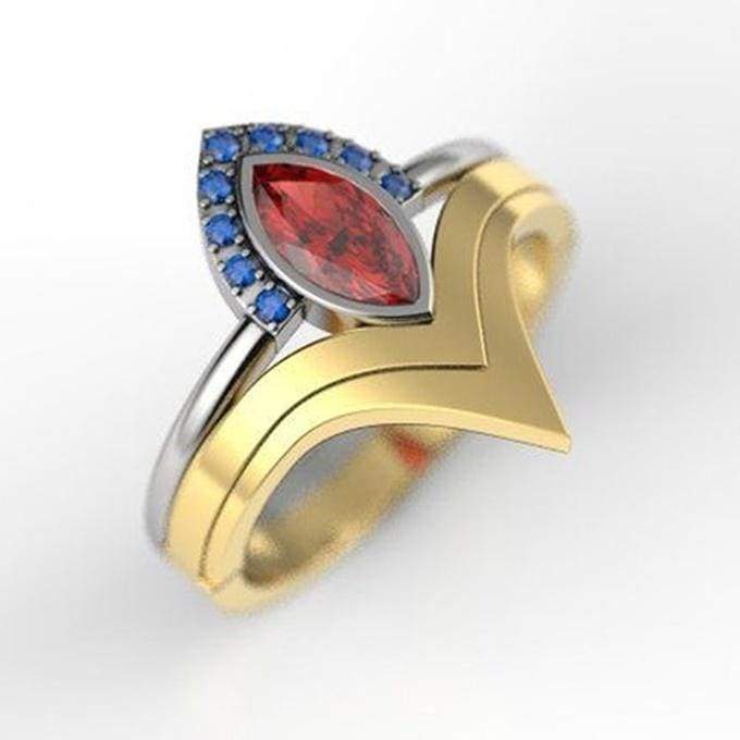 2pcs/Set New Unique Creative Geek Jewelry 925 Sterling Silver 18K Gold Sapphire Ruby Geek Ring Set Fashion Bride Geek Engagement Wedding Ring Set Anniversary promise Ring Thanksgiving Christmas Gift Jewelry Ring Set Size US5-11