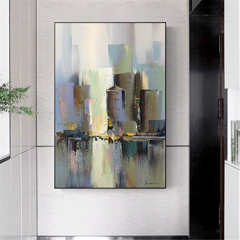 Abstract painting wall art pictures for living room wall decor bedroom hallway Hong Kong canvas cityscape original blue acrylic home decor