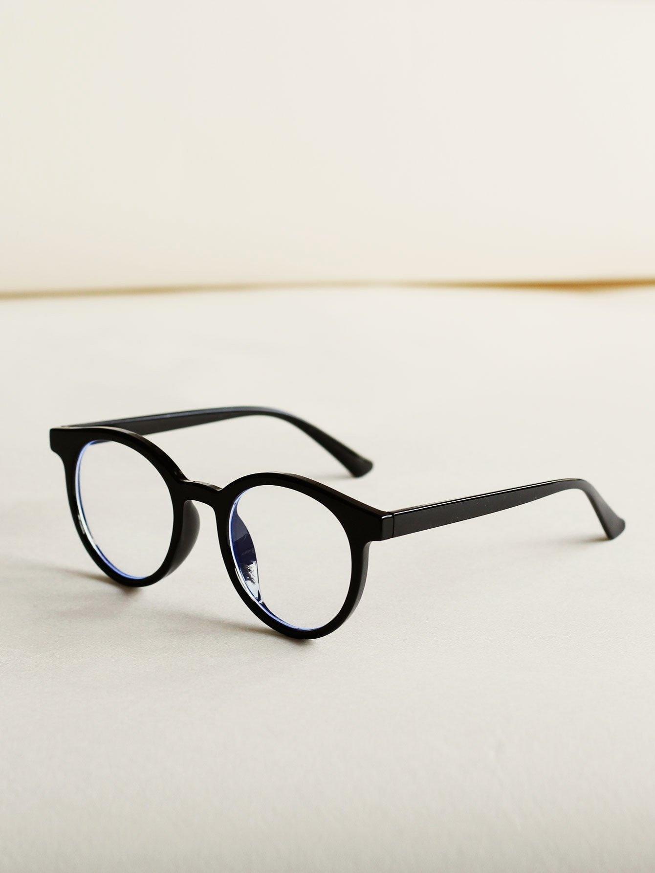 Round Frame Glasses With Case