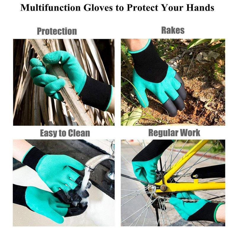 One Size Breathable Garden Gloves with Fingertips Claws for Planting Digging