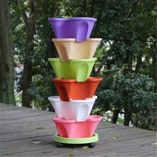 🌼Plant Festival Special 50% OFF-Stand Stacking Planters Strawberry Planting Pots