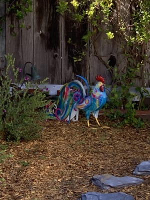 Colorful Metal Rooster Accent