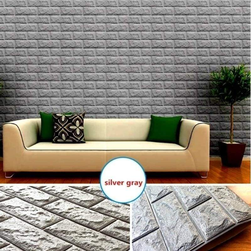10 Packs 3D Wallpaper PE Foam DIY Wall Stickers Home Decoration Wall Decor Embossed Brick Stone Living Room Bedroom Background Decoration Maison