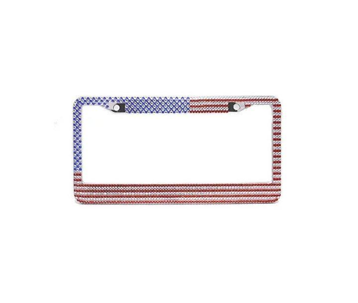 Bling Rhinestone Premium Stainless Steel License Plate Frame with a gift Car Bling Ring Emblem Sticker