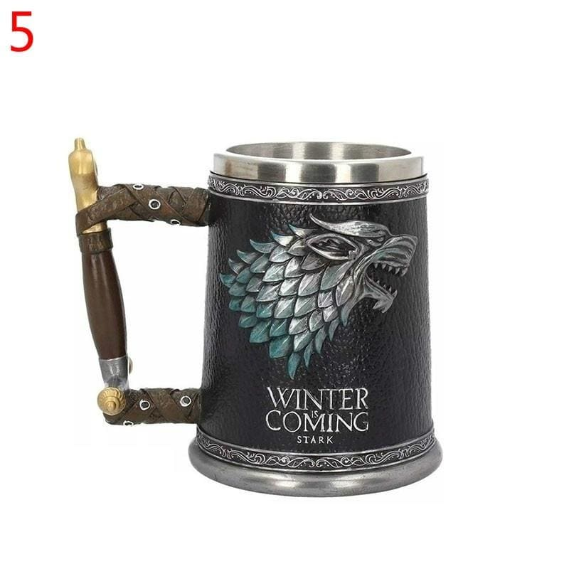 Game of Thrones Seven Kingdom Mug Goblet Stainless Steel Resin Tankards Beer Mug Mark Cup