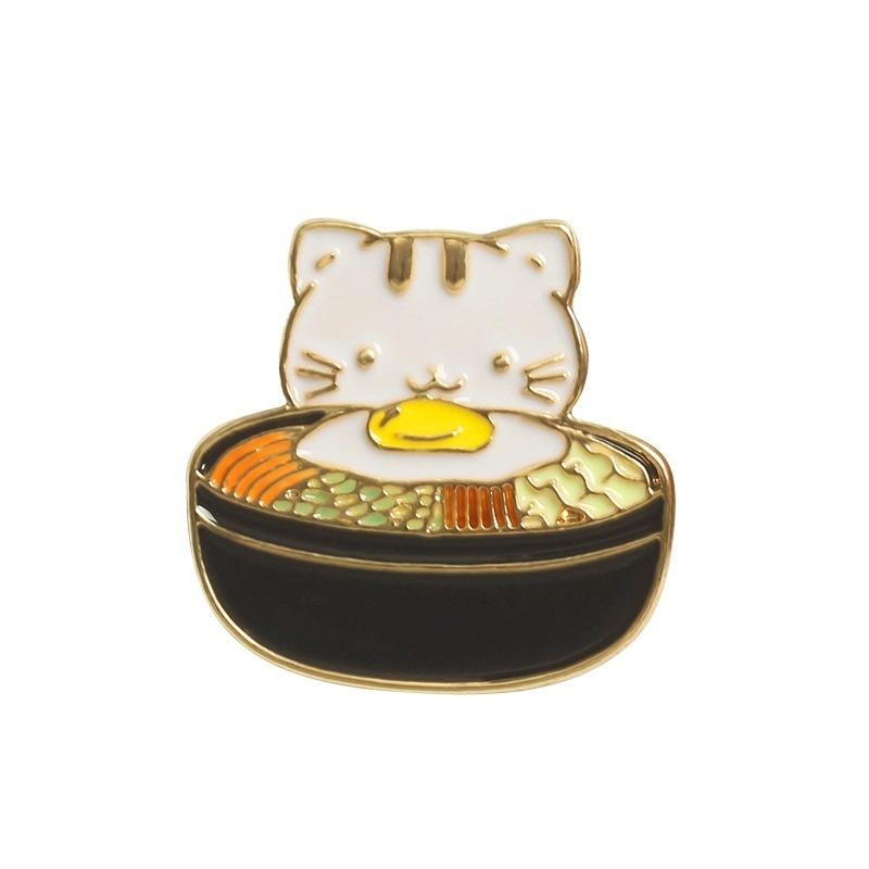 Exquisite Japanese Anime Ramen Kitten Enamel Metal Brooch, Fashion Backpack Accessories Collar Pins