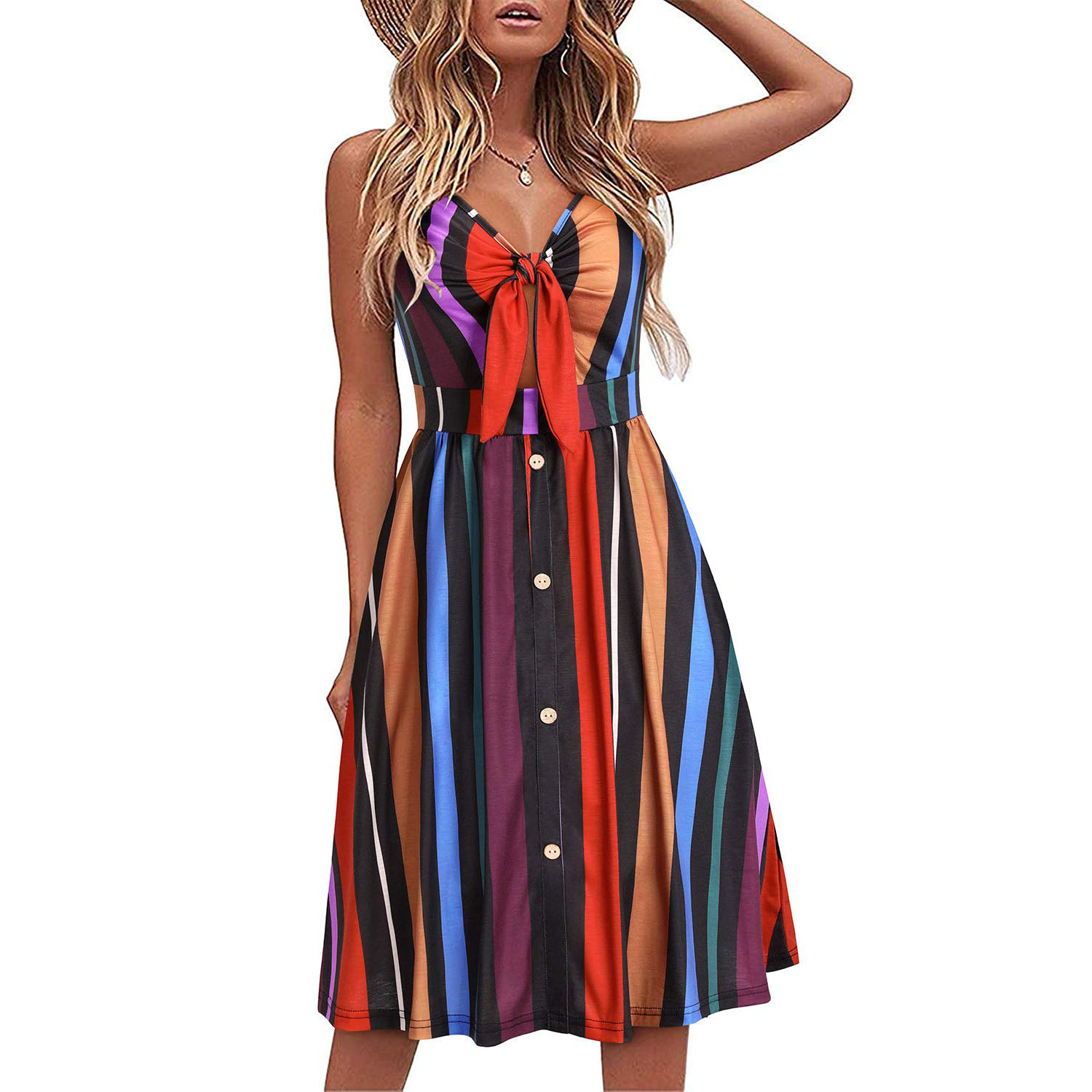 Womens Floral Sundress V Neck Tie Knot Front Spaghetti Strap Summer Dresses with Pockets
