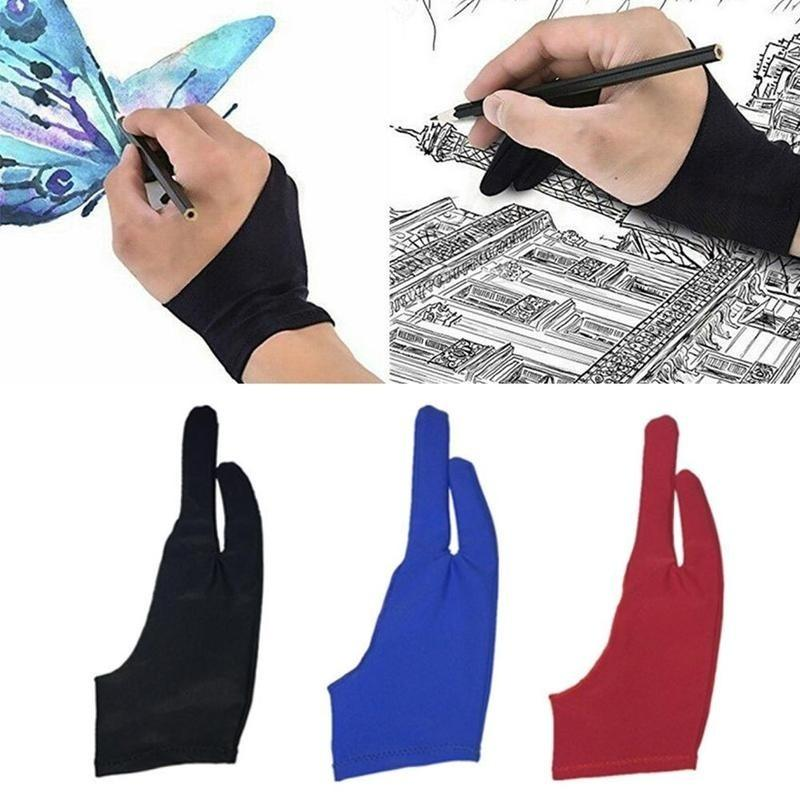 2pcs Professional Artist Drawing Two Finger Anti-fouling Glove For Graphic Tablet Light Pad 3 Colors