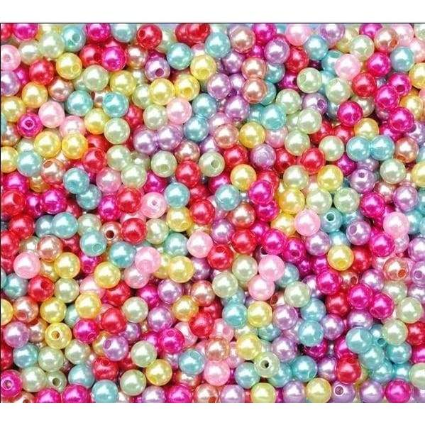 500X Multicolor Round Pearl  Glass Beads 4 mm  for handmade  bracelet ring chain pendent