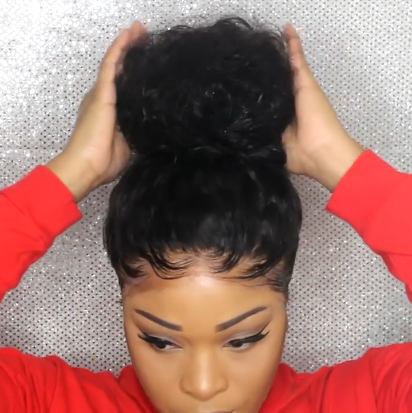 Glueless Frontal Lace Curly Wig In A Bun