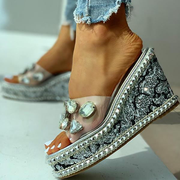 Lemmikshoes Open Toe Studded Rivet Wedge Slippers