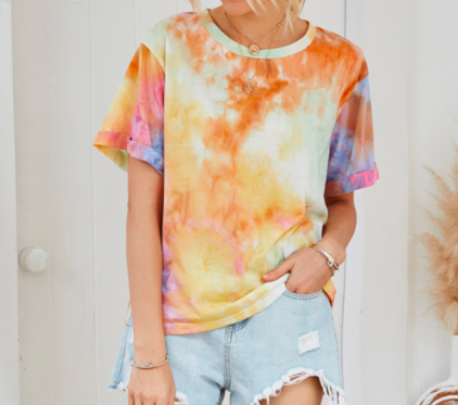 Hot recommended printing spring and summer regular sleeve tie-dye high quality fashion brand women's T-shirt