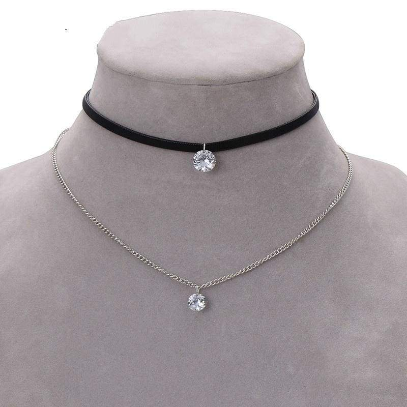 New Arrival Trendy Leather Choker Necklace with Crystal Charm Layer Necklaces & Pendants for Women Girls Gothic Collier