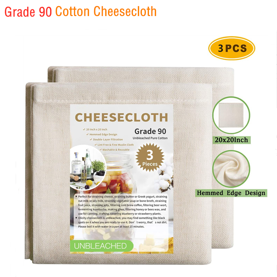 100% Unbleached Cotton Cheesecloth, Hemmed Edge Design & 20x20 Inch