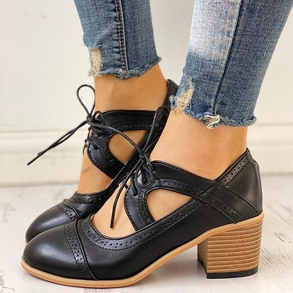 Twinklemoda Lace-Up Cut Out Chunky Heels