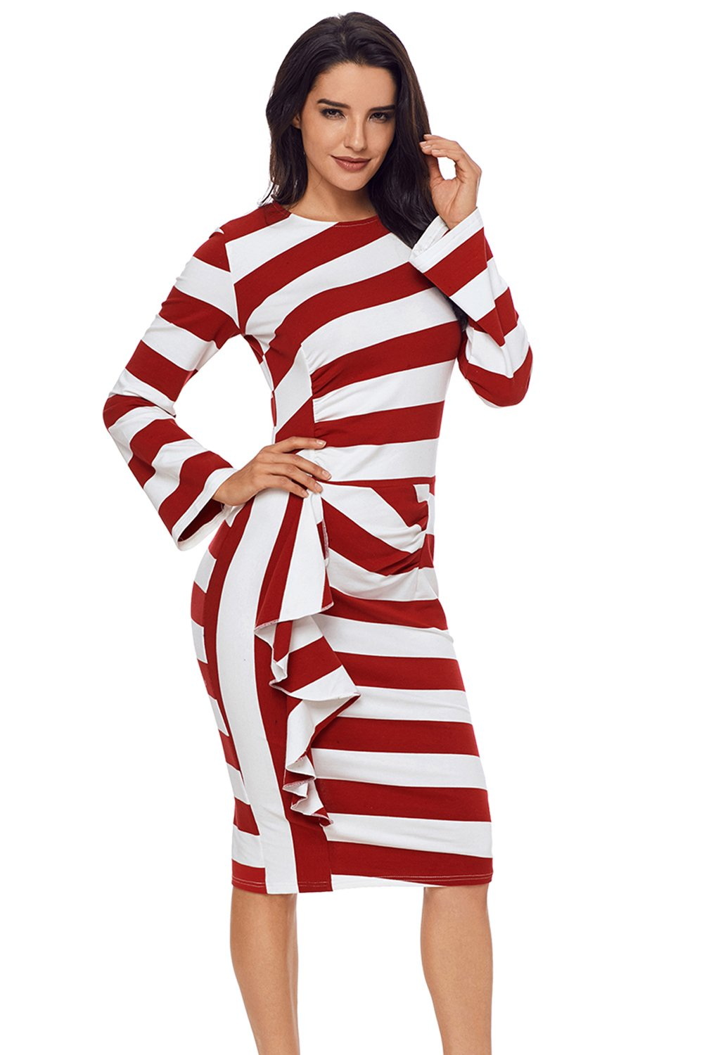 Women Clothing Designers The Best Burgundy Striped Ruffle Side Back Slit Long Sleeve Midi Dress