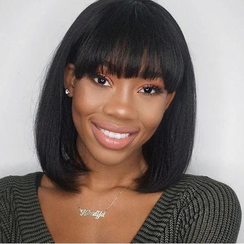 Luna B01 Women Bob Wig with Bangs Straight Shoulder Length for African American