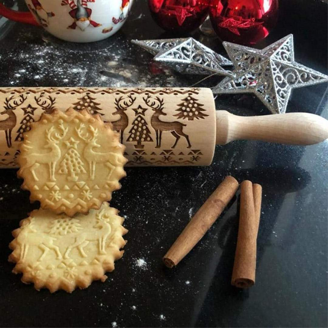Christmas Cookies 3D Pattern Rolling Pin