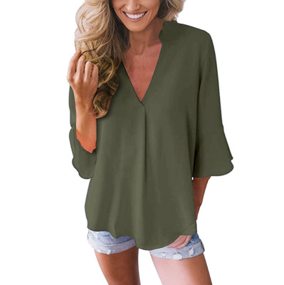 V-neck lotus leaf sleeve sleeve loose chiffon shirt