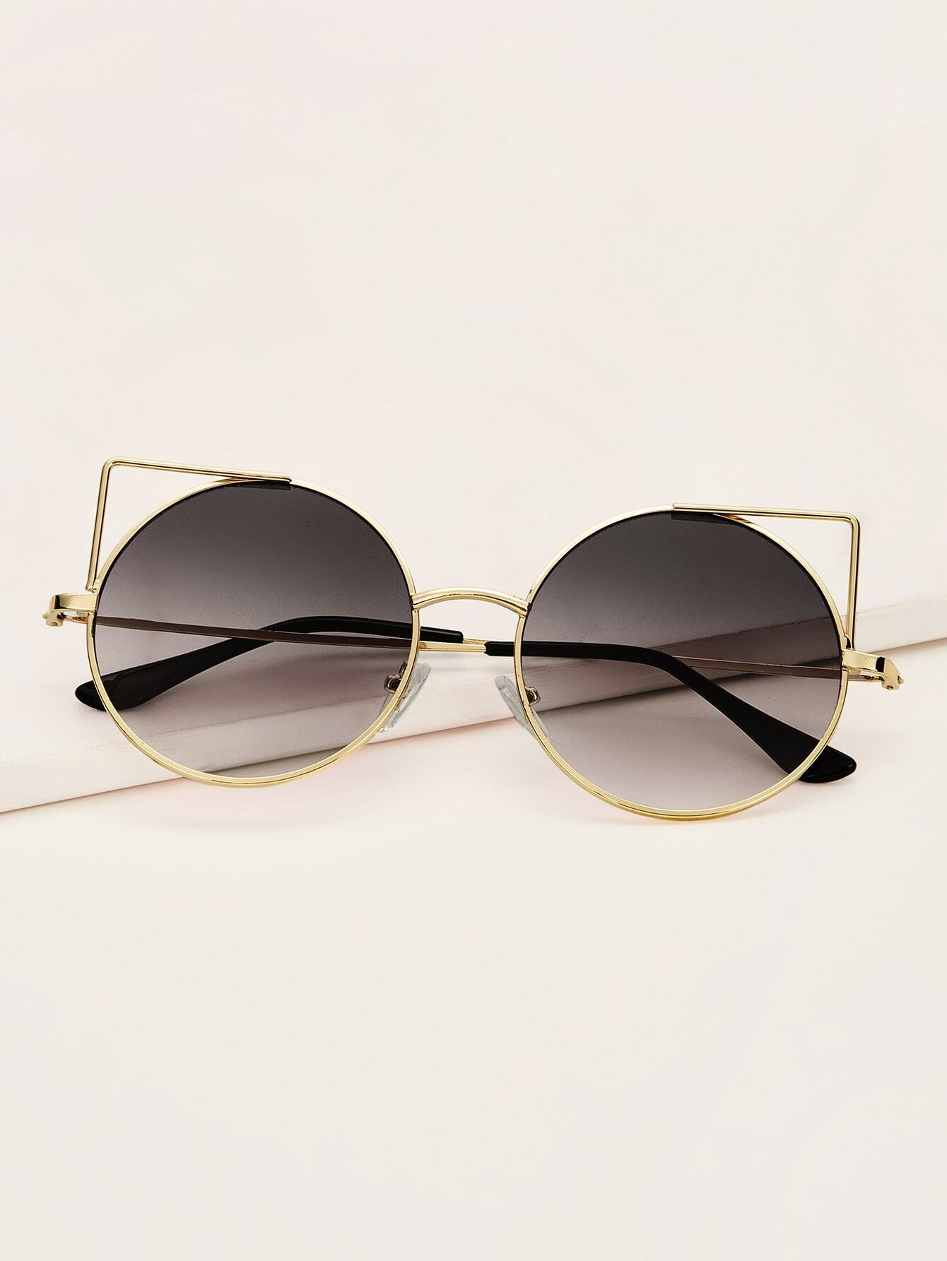 Cat Design Round Frame Sunglasses With Case