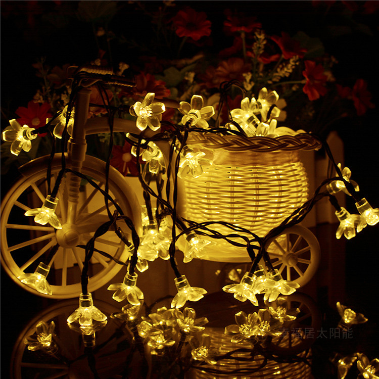 🌸Solar Cherry Blossom String Lights🌸--Waterproof Outdoor String Lights for Patio,Lawn,Garden,Holiday and Festivals Decorations