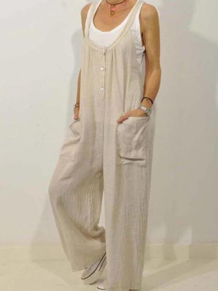 Women Cotton and Linen Pockets Elastic Button Jumpsuit