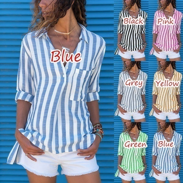 2019 New Trend Women's Fashion Long Sleeve Shirts Casual Striped Blouses Plus Size Tops