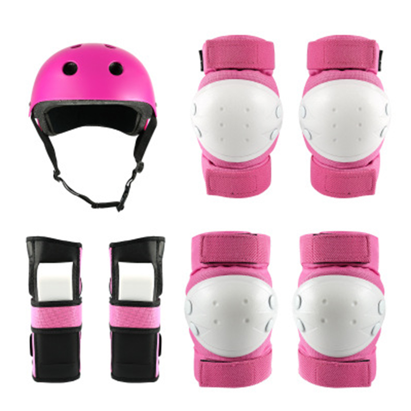 Helmet and Protective Gear Set 7 In 1 Set For Rollerblading Skateboard Cycling
