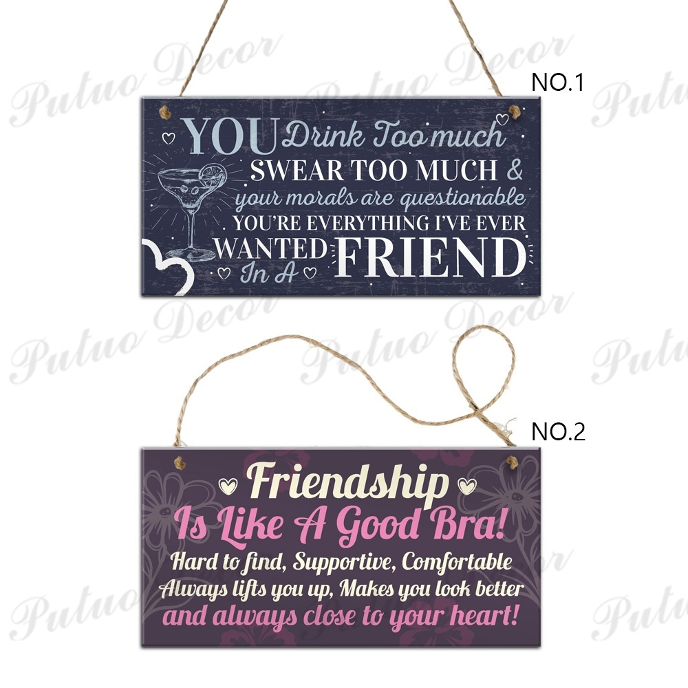 Friendship Wooden Plaques Best Friend Gifts Home House Decor 3.9'×7.8'